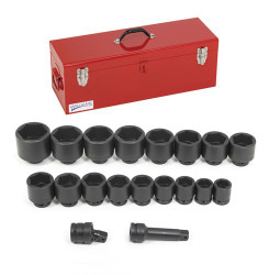 "1 1/2 - 3 1/2"" Williams 1"" Dr Shallow Impact Socket Set 6Pt 19 Pcs & Tool Box - WS-7-19TB"