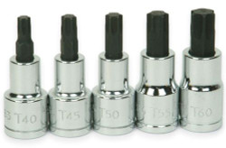 "T40 -T60 Williams 1/2"" Dr Torx Bit Socket Set 5 Pcs - 32908"