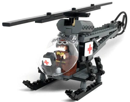 US Army Bell 47 MASH Helicopter w/Pilot - Brickmania Toys