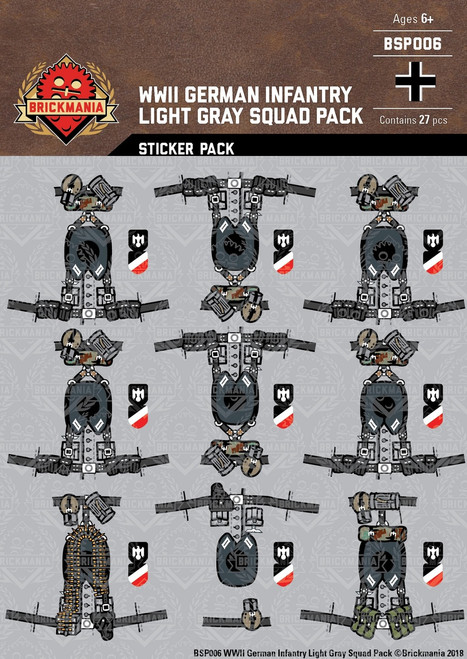 WWII German Infantry Light Gray - Squad Pack - Stickers
