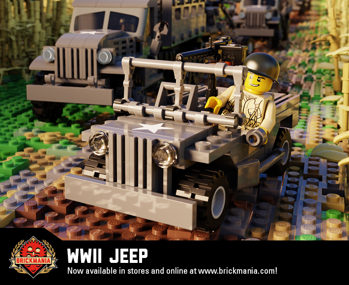 WWII Jeep With US Airborne Soldier