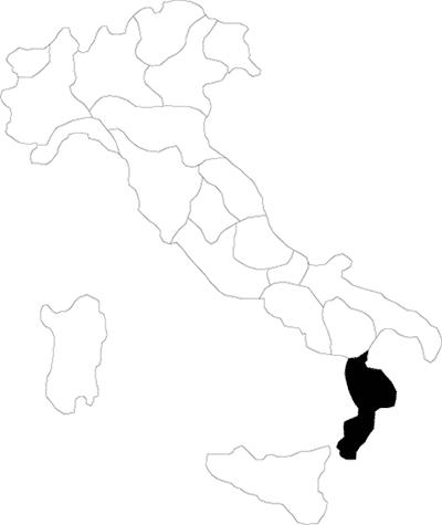 Calabria region map