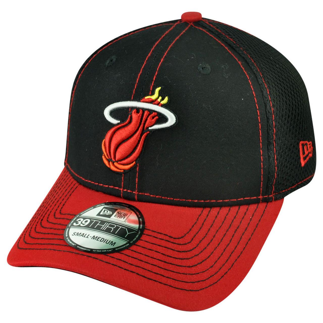 106a585a5dc NBA New Era 3930 Miami Heat Flex Fit Large XLarge 2Tone Neo Jersey Mesh Hat  Cap