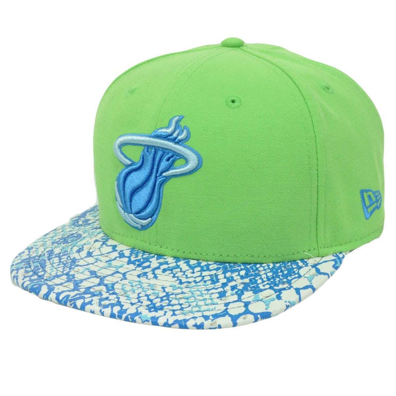 new product 5c1cd e72ef NBA New Era 9Fifty Miami Heat Ostrich Vize Snake Strapback Flat Brim M L Hat