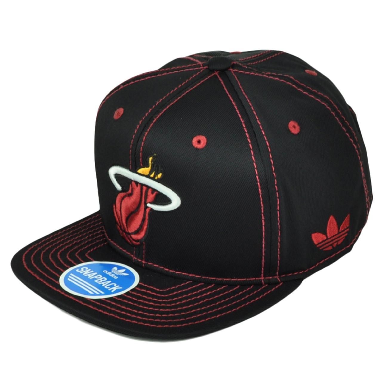 Miami Heat Adidas Black Red Snapback NZG99 Hat Cap Flat Bill Basketball  Nylon 3e5b9becd7be