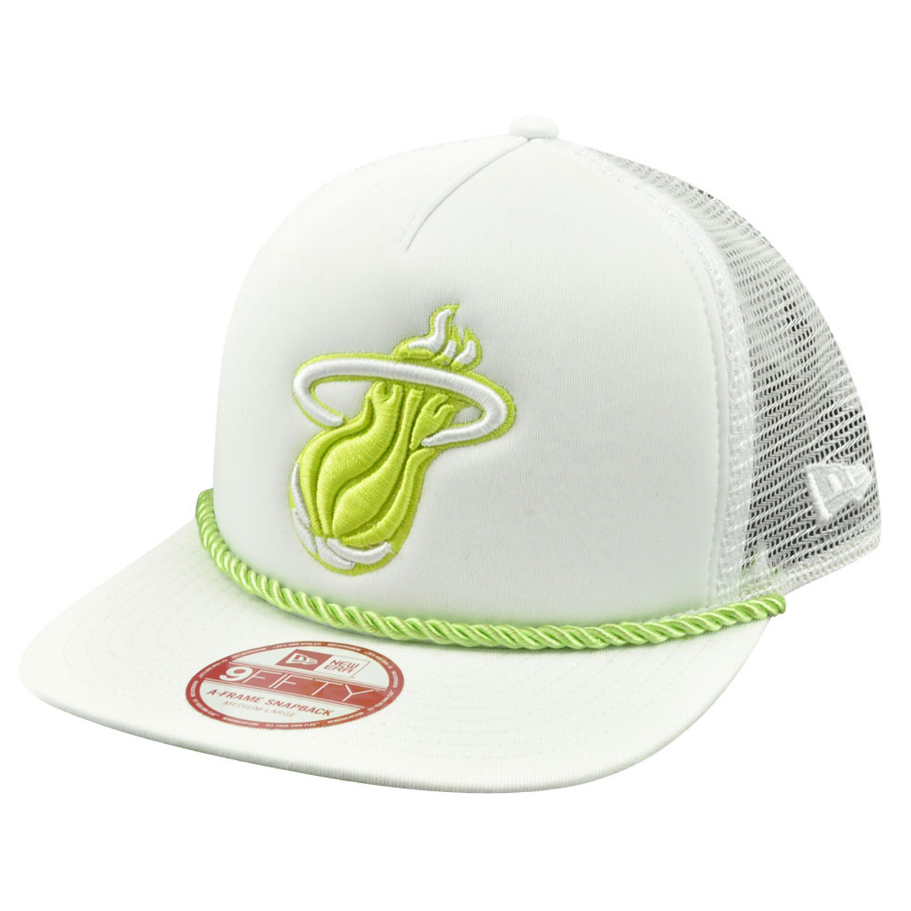 quality design e9018 20c21 NBA New Era A Frame 9Fifty Miami Heat Rope Front Trucker Mesh Snapback Hat  Cap