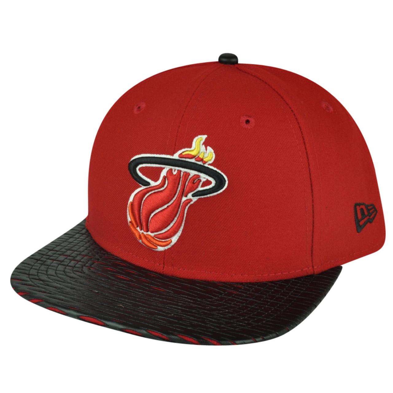 more photos ef9ec bc7a0 NBA New Era 9Fifty 950 Leather Rip Miami Heat Snapback Hat Cap Flat Bill Red