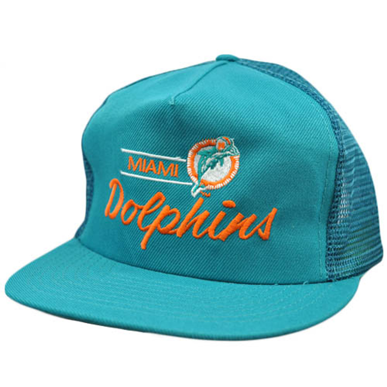 NFL Miami Dolphins Vintage Mesh Flat Bill Teal Orange Annco Snapback Hat Cap fbe4a9890e63