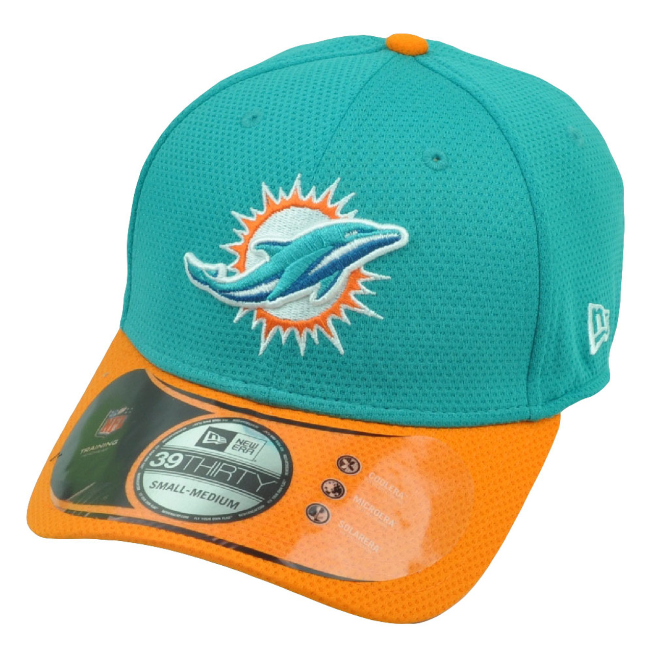 huge discount 1b2c7 b409f NFL New Era 3930 Miami Dolphins Flex Fit Medium Large 2015 Training Hat Cap  Teal