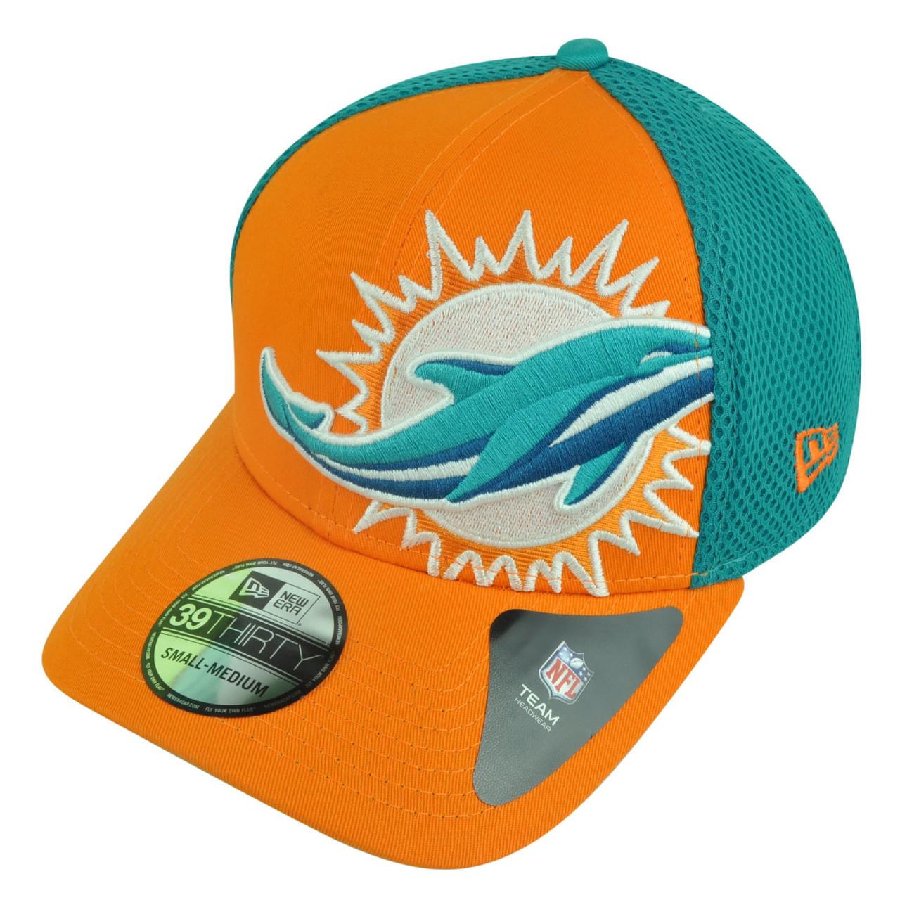NFL New Era 3930 Miami Dolphins Flex Fit Small Medium Logo Blimp Neo Hat Cap 7bc27735d6fe