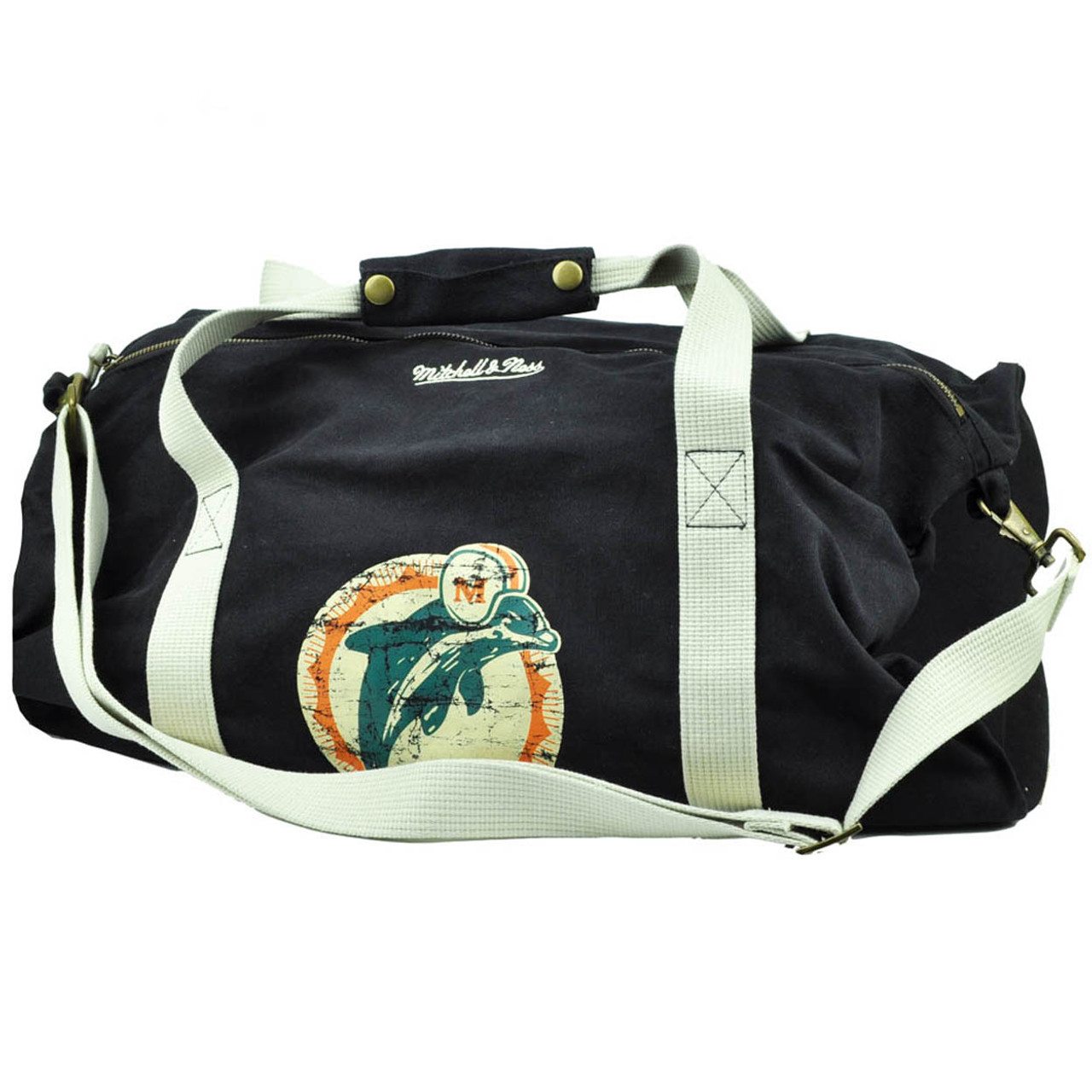 ac0771c537 NFL Mitchell Ness Miami Dolphins Duffel Black Bag Travel Gym Washed  Distressed
