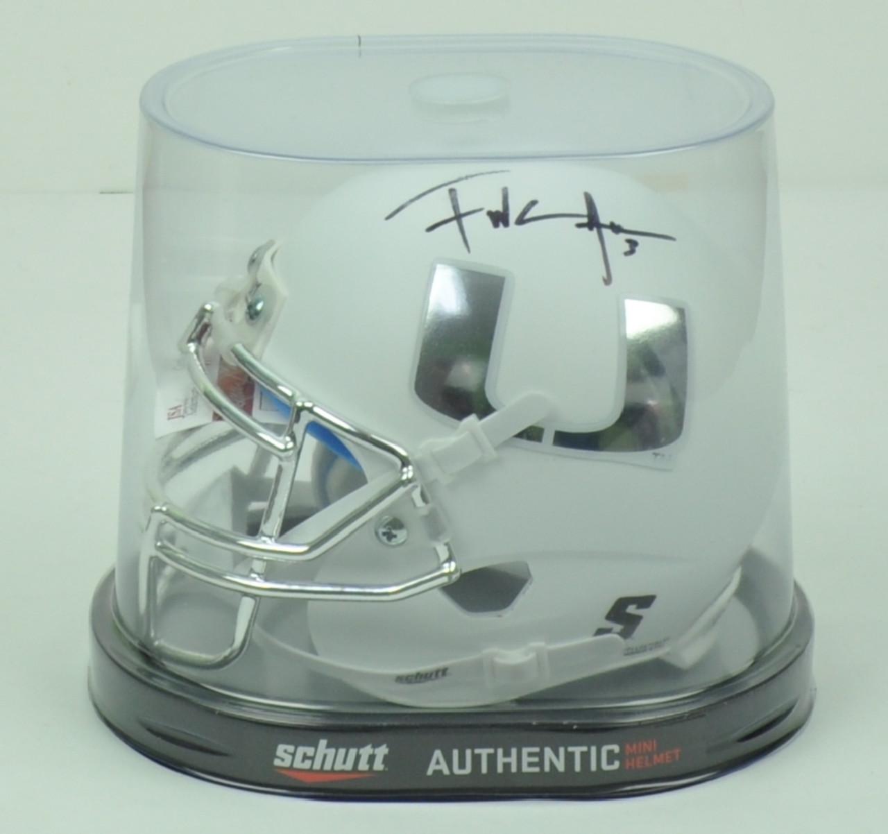 NCAA Miami Hurricanes Running Back Frank Gore 3 Signed Autographed Schutt  Chrome White Mini Helmet JSA ad7dadd3d