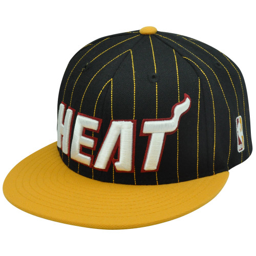 NBA Miami Heat Adidas NE55Z Snapback Black Yellow Pinstripe Adjustable Hat  Cap 8527fbe01f43