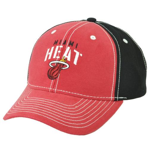 NBA Miami Heat Red Black Adjustable Hat Cap Velcro HWC Sports Two Tone  Cotton c61773b93