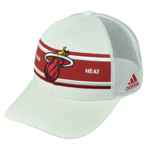 Miami Heat Adidas White Stripe Mesh Snapback NZM06 Hat Cap Basketball  Curved Bill b3059be6ba70