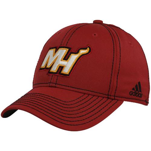 c4e8f5db NBA Adidas Miami Heat HWC TN67Z Tactel Stretch Flex Fit Basketball Hat Cap  L/XL