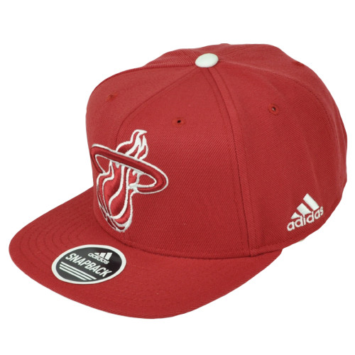 c2951911adf4f Miami Heat Adidas Red Snapback Flat Bill Hat Cap Basketball Constructed Big  Logo