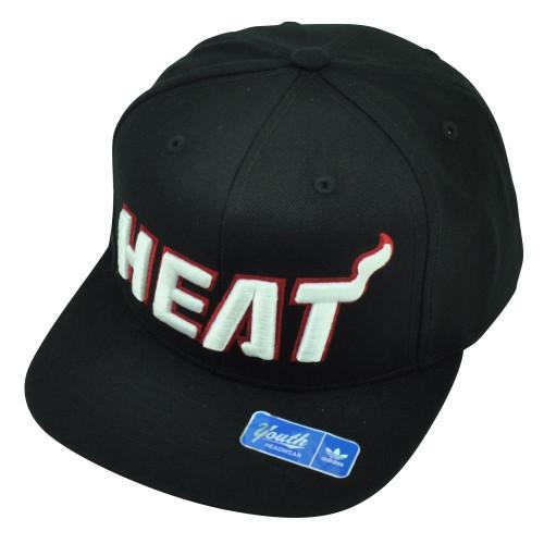 NBA Adidas Miami Heat Youth Snapback Flat Bill Black Hat Cap HWC Adjustable  Sport 47c1f95cdf0d