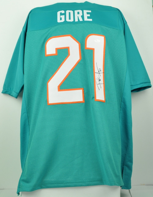 best service ad59b d71d5 NFL Miami Dolphins Running Back Frank Gore 21 Signed Autographed XL Teal  Replica Jersey JSA Mens