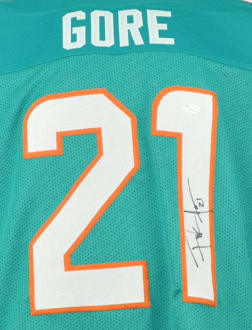 ... NFL Miami Dolphins Running Back Frank Gore 21 Signed Autographed XL  Teal Replica Jersey JSA Mens ... c94537d5e
