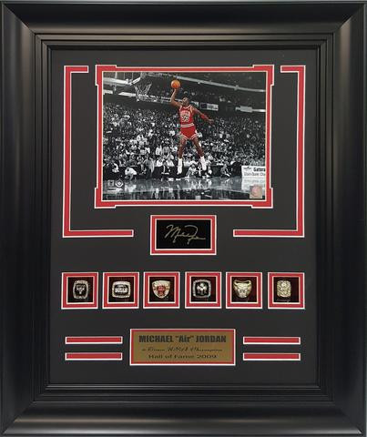 NBA Chicago Bulls Michael Jordan 23 Six Championship Rings 21x25 Frame
