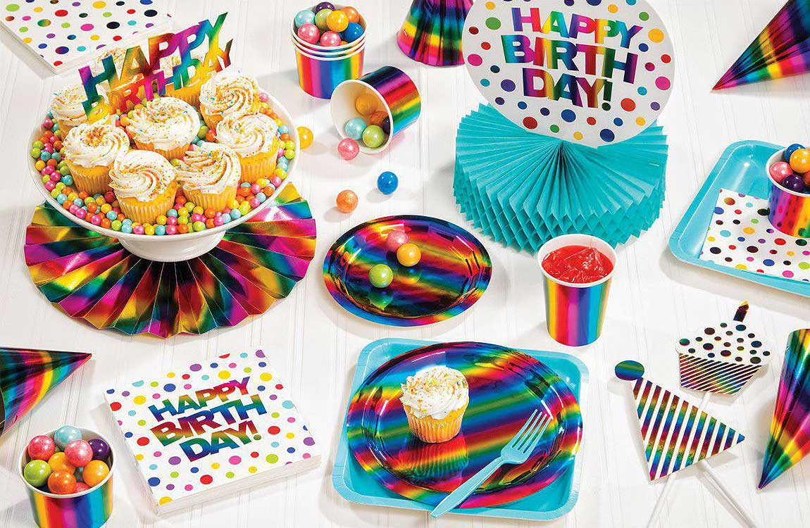 Rainbow Foil Party Supplies