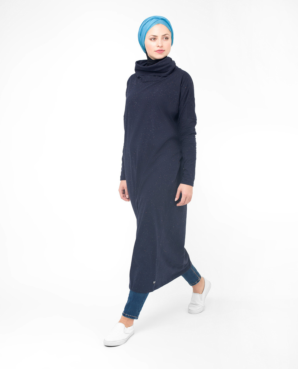 8909f0724aba6f Sparkly Navy Long Modest Top, Tunic, Modest Fashion