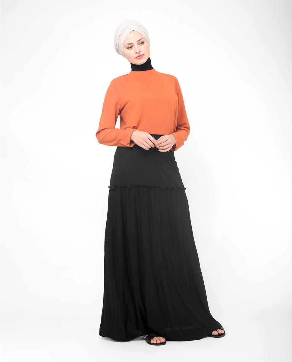 86356796b Full Length Black Flared Skirt buy skirts online ...