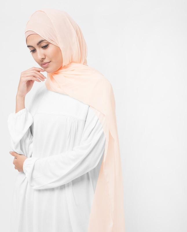 Tender Peach Polychiffon Hijab