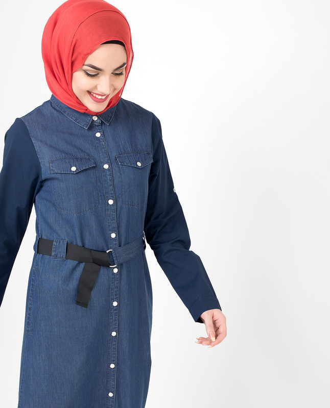 Fully Buttoned Front Open Denim Jilbab