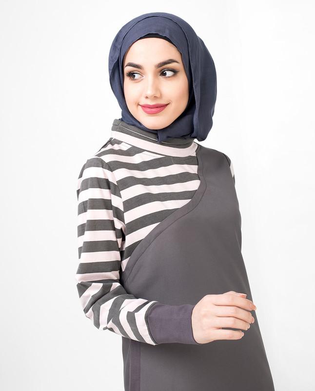 Jersey Stripe Pink & Grey One Shoulder Jilbab