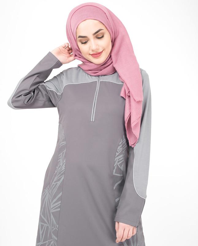 Grey print jilbab abaya