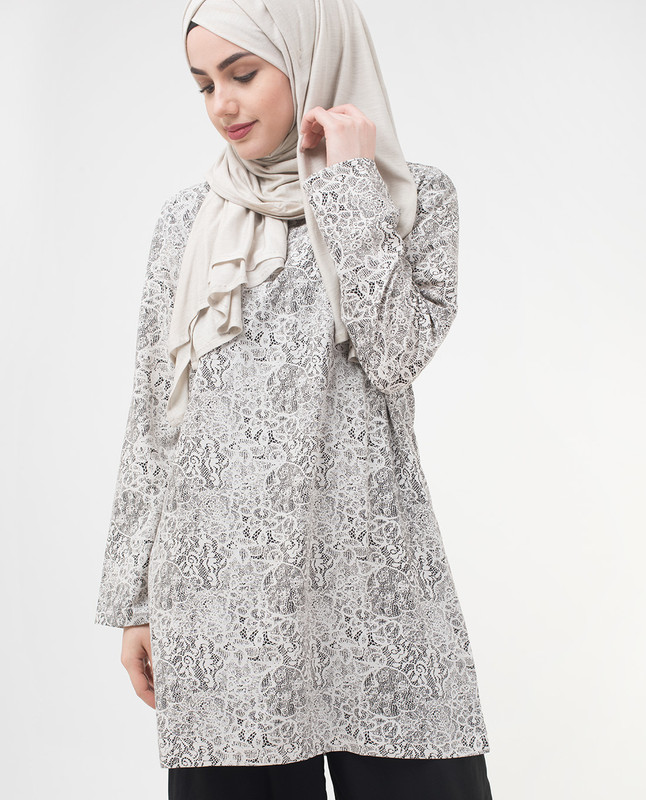 Summer Lace Printed Modest Top