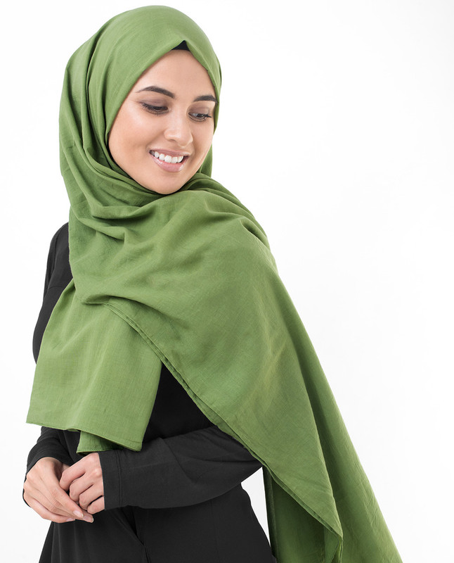 Forest Green Cotton Voile Scarf