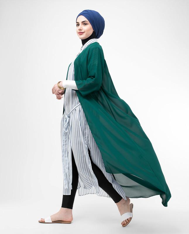 Long Sheer June Bug Green Kimono