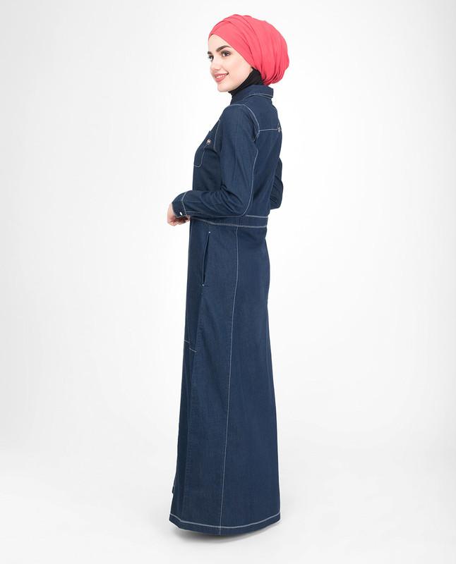 Front opening denim jilbab abaya