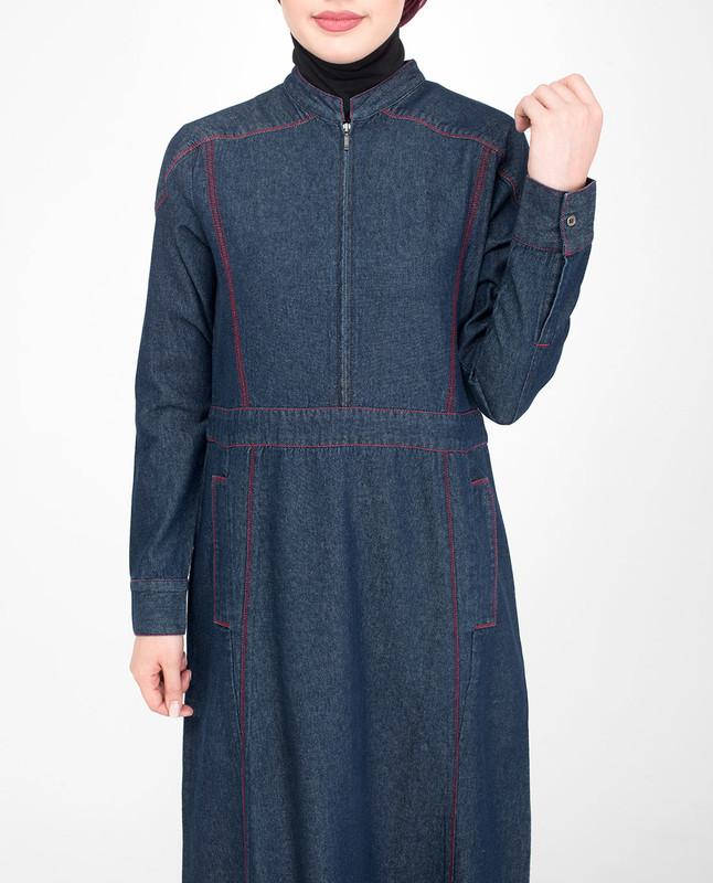 Blue cotton jilbab abaya