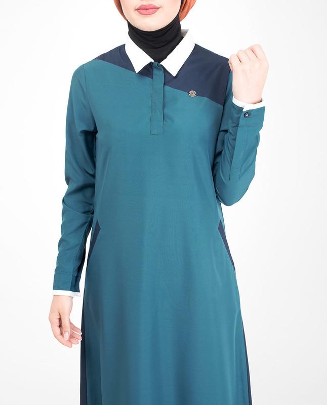 Contrast collar abaya jilbab