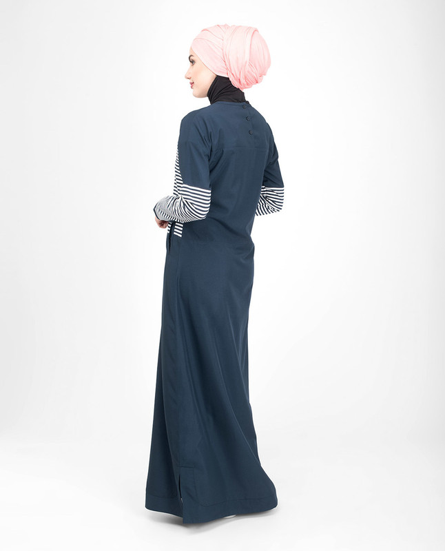Side pockets blue jilbab abaya