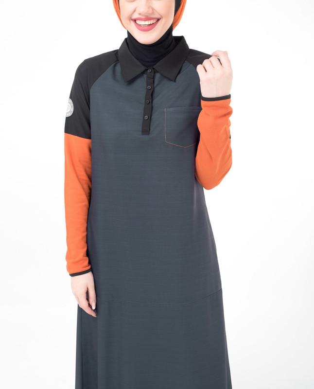 Orange collar neck abaya jilbab