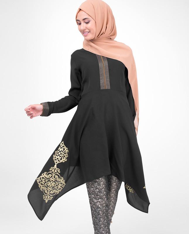 Black & Gold Print Modest Tunic Dress