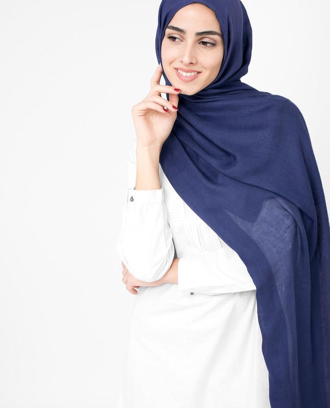 Royal blue hijab dress scarf