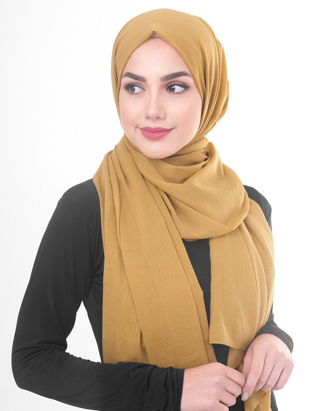 Tawny Olive Cotton Voile Scarf