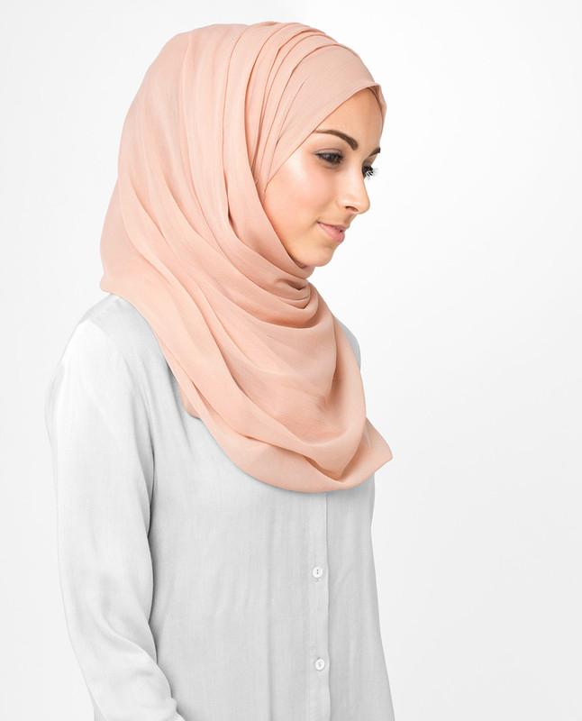 Pink scarf wrap hijab