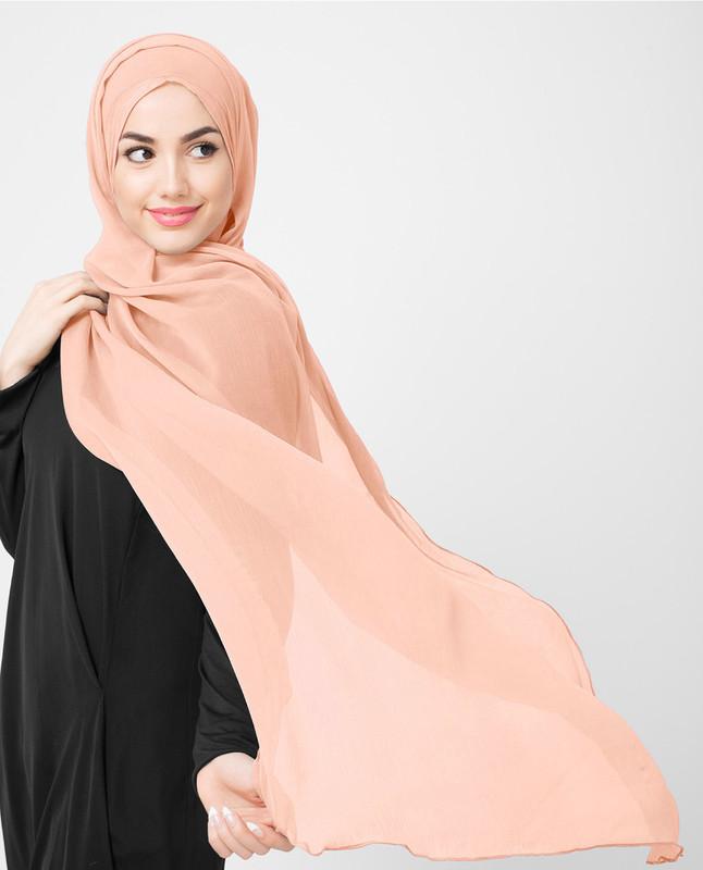 Pink poly chiffon hijab scarf