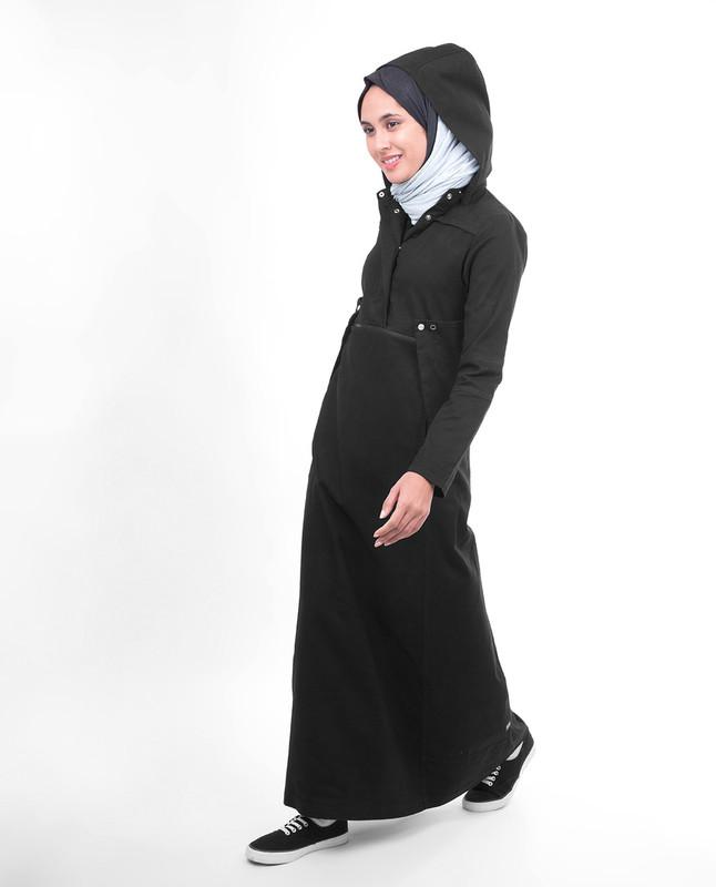 High collar abaya jilbab