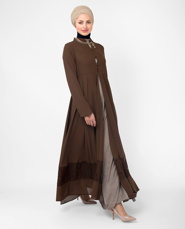 Brown kimono dress online, outerwear