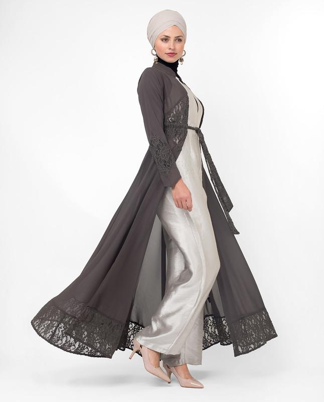 Full Length Grey Elegant Lace Modest Outerwear, kimono
