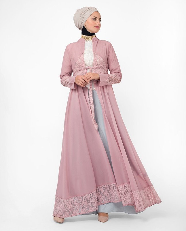 Full Length Pink Elegant Lace Modest Outerwear