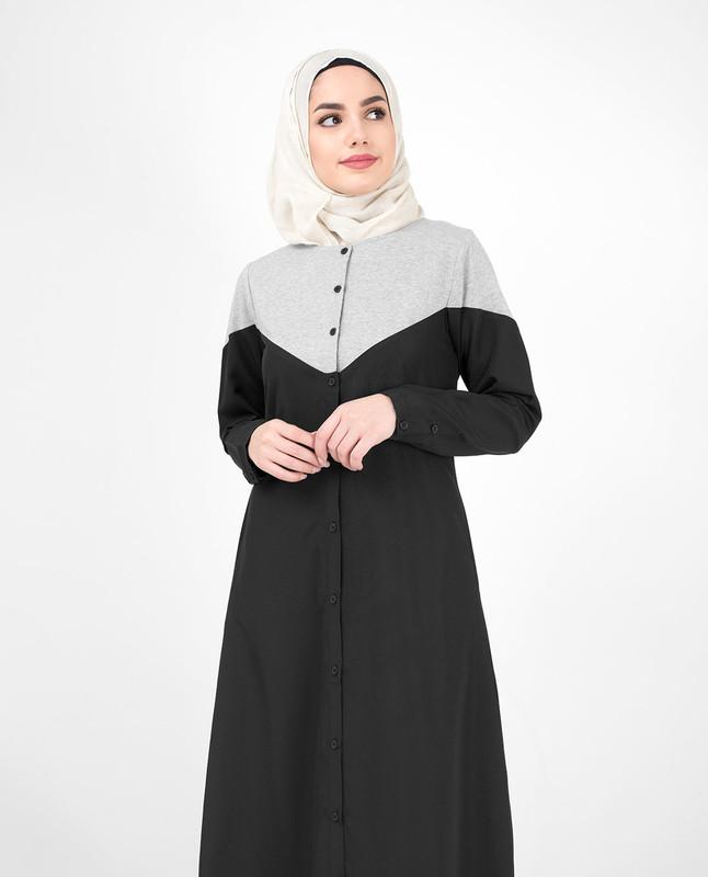 Black & Grey Colour Blocking Jilbab